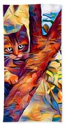 Cat In Tree Beach Towel