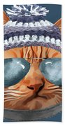 Cat Kitty Kitten In Clothes Aviators Toque Beanie Beach Towel