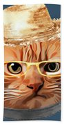 Cat Kitty Kitten In Clothes Yellow Glasses Straw Beach Towel
