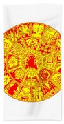 Cat Mandala Yellow And Red Beach Towel