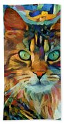 Cat On Colors Beach Towel