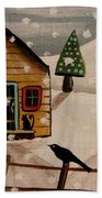 Cat On Stoop Beach Towel