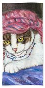Tabby Cat With Yellow Eyes Beach Towel