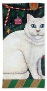 Cat Under The Christmas Tree Beach Towel