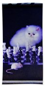 Cat With Chess Board Anbd Mouse Beach Towel