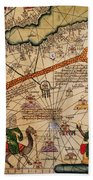 Catalan Map Of Europe And North Africa Charles V Of France In 1381  Beach Towel by Abraham Cresques