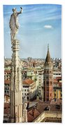 Cathedral And Campanile Milan Italy Beach Towel
