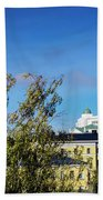 Cathedral Landmark And Central Helsinki View In Finland Beach Towel