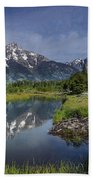 Grand Teton Cathedral Reflections Beach Towel