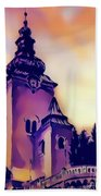 Catholic Church Building, Architectural Dominant Of The City, Graphic From Painting. Beach Towel