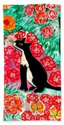 Cats And Roses Beach Towel