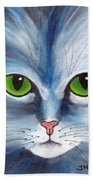 Cat Eyes Blue Beach Towel