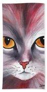 Cat Eyes Red Beach Towel