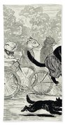 Cats In A Bicycle Race, Hyde Park, 1896 Beach Towel