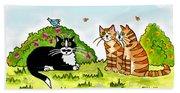 Cats Talking In A Sunny Garden Beach Towel