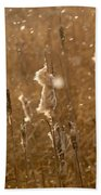 Cattails In Snowstorm 3 Beach Towel