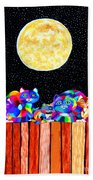 Catting In The Moonlight Beach Towel