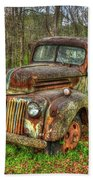 Caught Behind 1947 Ford Stakebed Pickup Truck Art Beach Towel