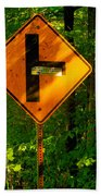 Caution T Junction Road Sign Beach Sheet