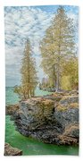 Cave Point Bluffs 2 Beach Towel