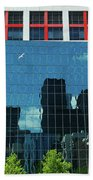 Cbc Building Tv Screen Of Downtown Highrises Beach Towel
