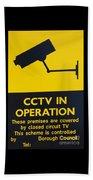 Cctv Warning Sign Beach Towel