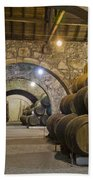 Cellar With Wine Barrels Beach Towel
