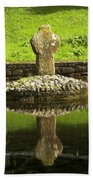 Ancient Celtic Cross At St Patrick Well Beach Towel