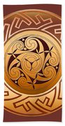 Celtic Spiral And Key Pattern Beach Towel