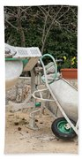 Cement Mixer And A Wheelbarrow In Croatia Beach Towel