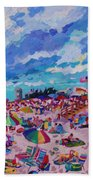 Center Panel Of Triptych Busy Relaxing Beach Towel