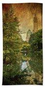 Central Park In Autumn Texture 4 Beach Towel