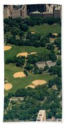 Central Park North Meadow In New York City Aerial View Beach Towel
