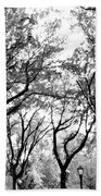 Central Park Nyc In Black And White Beach Towel