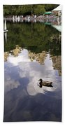 Central Park Pond With Two Ducks Beach Towel by Madeline Ellis