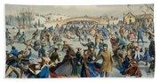 Central Park, Winter The Skating Pond, 1862 Beach Towel