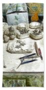 Ceramic Objects And Brushes On The Table Beach Sheet