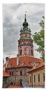 Cesky Krumlov Castle Tower In Cesky Krumlov Of The Czech Republic Beach Towel