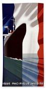 C.g. Transatlantique Vintage Travel Poster Beach Towel