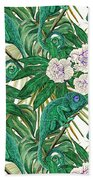 Chameleons And Camellias  Beach Towel