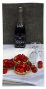 Champagne Bottle With Strawberry Tarts And 2 Glasses Beach Towel