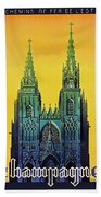 Champagne, Reims, Cathedral, France Beach Towel