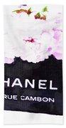 Chanel Bag With Peony  Beach Towel