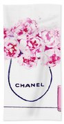 Chanel Bag With Pink Peonys Beach Towel