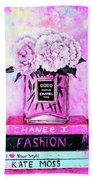 Chanel Perfume With Peony Beach Towel