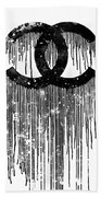 Chanel Logo Black White 1 Beach Towel