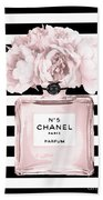 Chanel N.5, Black And White Stripes Beach Towel