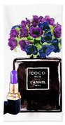 Chanel Noir Perfume Bottle Beach Towel