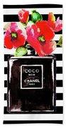 Chanel Noir Perfume With Corn Poppy Beach Towel