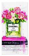 Chanel Nr 5 Flowers With  Perfume Beach Towel